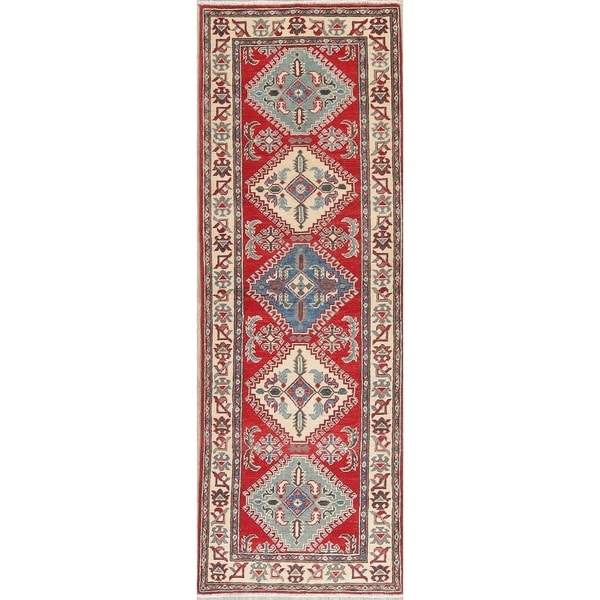 "Traditional Kazak Diamond Oriental Hand Knotted Wool Pakistani Rug - 7'11"" x 2'8"" Runner"