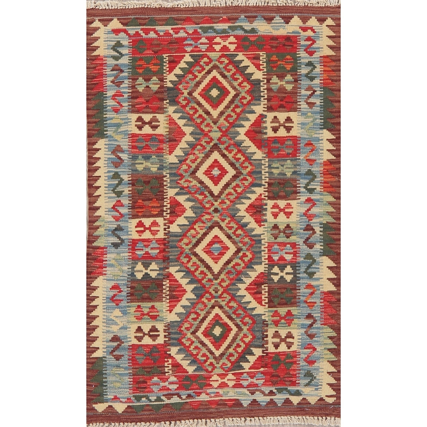 Kilim Tribal Oriental Flat Woven Wool