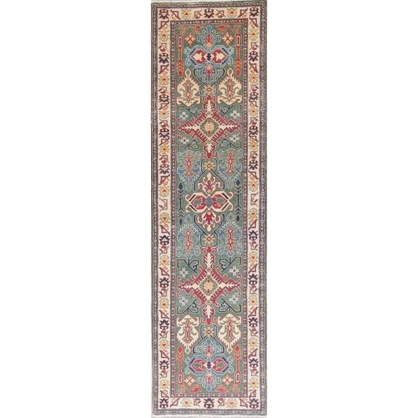 "Traditional Kazak Oriental Hand Knotted Wool Pakistani Rug - 9'11"" x 2'8"" Runner"