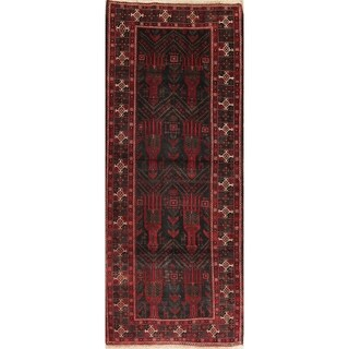 "Vintage Balouch Oriental Hand Knotted Wool Persian Rug - 9'7"" x 3'10"" Runner"