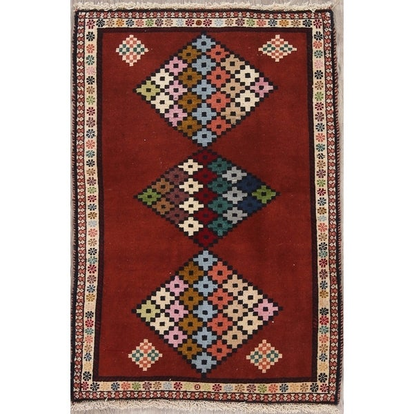 "Gabbeh Diamond Oriental Hand Knotted Wool Persian Area Rug - 3'10"" x 2'7"""