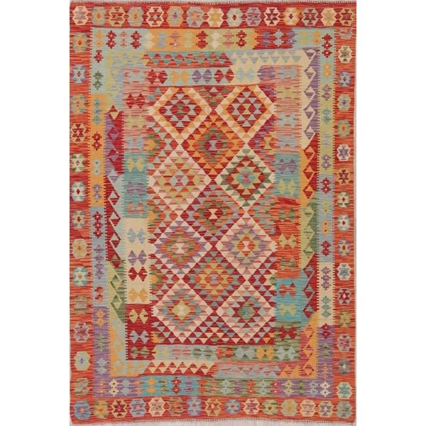 Modern Southwestern Kilim Diamond Handmade Wool Turkish Area Rug 8 1 X 5 6 Overstock 28331146