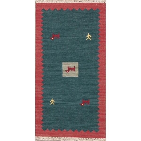 "Modern Kilim Tribal Handmade Wool Indian Area Rug - 4'5"" x 2'4"""