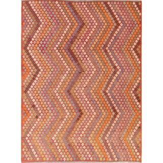 "Modern Kilim Oriental Handmade Wool Turkish Area Rug - 11'3"" x 8'5"""