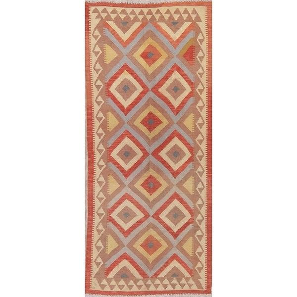 "Modern Kilim Oriental Flat-Weave Wool Turkish Rug - 8'3"" x 3'6"" Runner"