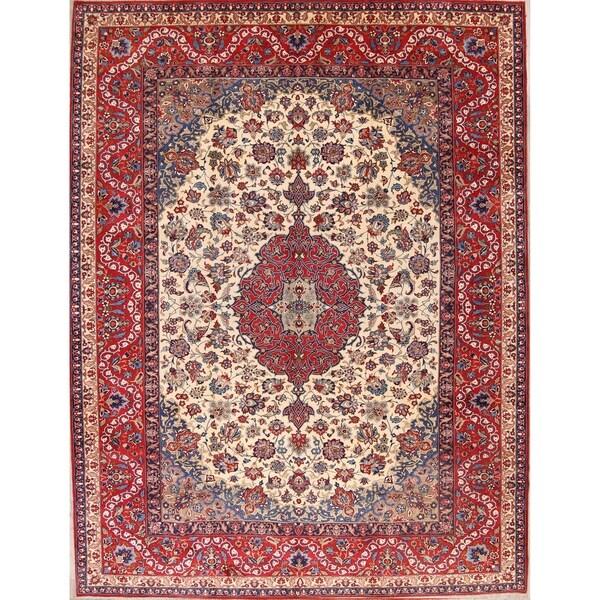 "Vintage Traditional Isfahan Medallion Handmade Wool Persian Area Rug - 13'8"" x 10'2"""