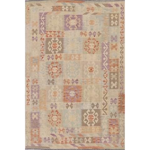 "Modern Kilim Patchwork Flat-Weave Wool Turkish Area Rug - 8'1"" x 5'4"""