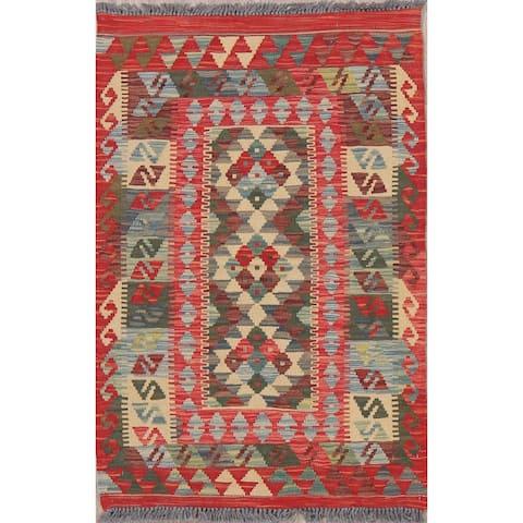 "Modern Kilim Tribal Oriental Flat Woven Wool Turkish Area Rug - 3'11"" x 2'7"""