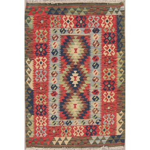 "Modern Kilim Tribal Oriental Flat Woven Wool Turkish Area Rug - 4'0"" x 2'7"""
