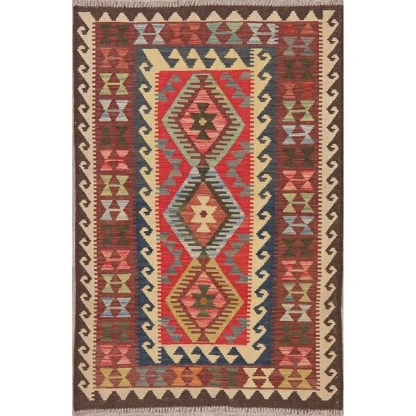 "Modern Kilim Oriental Tribal Handmade Wool Turkish Area Rug - 5'3"" x 3'4"""