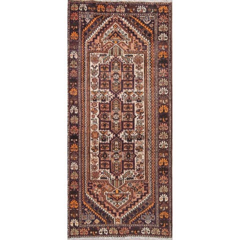 "Antique Shiraz Tribal Oriental Hand Knotted Wool Persian Rug - 8'10"" x 3'11"" Runner"