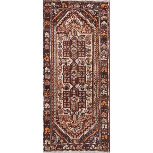 """Antique Shiraz Tribal Oriental Hand Knotted Wool Persian Rug - 8'10"""" x 3'11"""" Runner"""