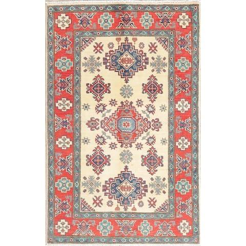 "Traditional Kazak Oriental Hand Knotted Wool Pakistani Area Rug - 4'10"" x 3'1"""