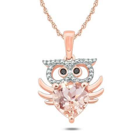 Cali Trove, 1/20 cttw Owl Shape Nature Inspired Pendant 10KT Pink Gold
