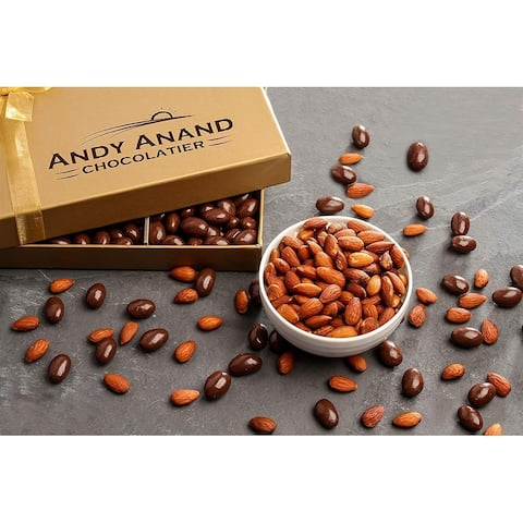 Andy Anand Vegan Dark Chocolate coated Roasted Almonds Gift Boxed, Gourmet Food with Greeting Card, Anniversary Birthday 1lbs