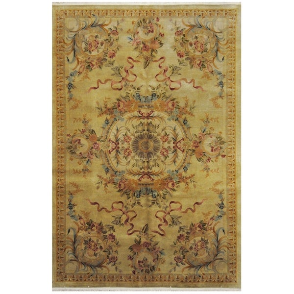 Handmade One-of-a-Kind Aubusson Wool Rug (Pakistan) - 5'9 x 8'8
