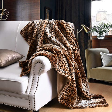 Silver Orchid Quirk Faux Fur Leopard Throw Blanket