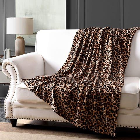 MarCielo Leopard Fleece Throw Blanket 50 x 60