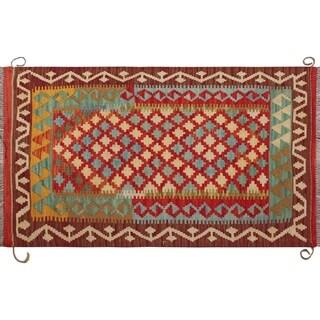 "Noori Rug Sangat Kilim Ormazd Red/Ivory Rug - 2'8"" x 4'4"""