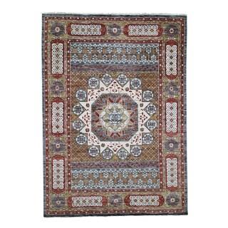 "Shahbanu Rugs Gold Mamluk Design Veg Dyes Hand Spun New Zealand Wool Oriental Rug (10'2"" x 14'2"") - 10'2"" x 14'2"""