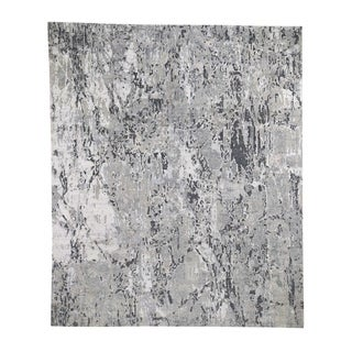 """Shahbanu Rugs Wool And Silk Abstract Design Hand-Knotted Oriental Rug (8'0"""" x 9'9"""") - 8'0"""" x 9'9"""""""