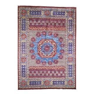 "Shahbanu Rugs Red Mamluk Design Veg Dyes Hand Spun New Zealand Wool Oriental Rug (10'0"" x 14'3"") - 10'0"" x 14'3"""