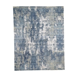 """Shahbanu Rugs Blue-Gray Abstract Design Wool and Pure Silk Hand-Knotted Oriental Rug (8'0"""" x 10'2"""") - 8'0"""" x 10'2"""""""