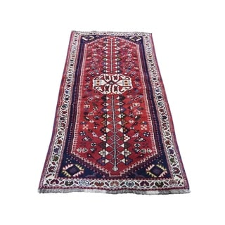 "Shahbanu Rugs New Red Pure Wool Runner Hand-Knotted Oriental Rug  (2'4"" x 6'3"") - 2'4"" x 6'3"""