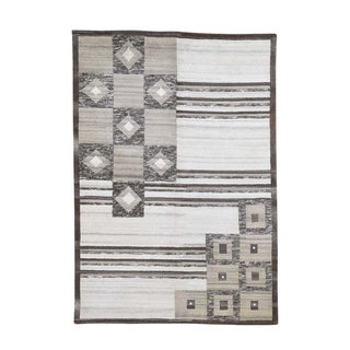 """Shahbanu Rugs On Clearance Modern Nepali Undyed Natural Wool Hand Knotted Rug (5'6"""" x 8'0"""") - 5'6"""" x 8'0"""""""