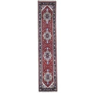 "Shahbanu Rugs Red Serapi Heriz Runner Pure Wool Hand-knotted Oriental Rug  (2'6"" x 12'1"") - 2'6"" x 12'1"""
