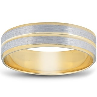 Link to 14k White & Yellow Gold Two Tone 6mm Flat Brushed Wedding Band Mens Ring Similar Items in Rings