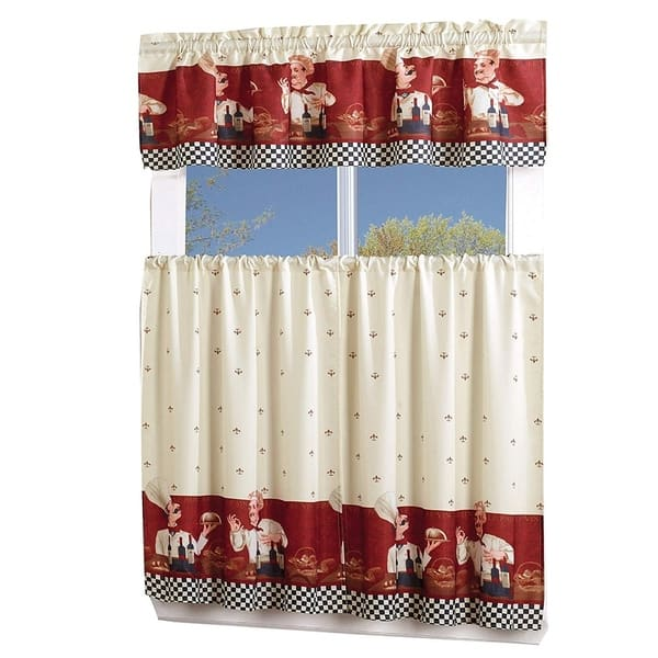 Porch Den Capri 3 Piece Kitchen Window Curtain Set