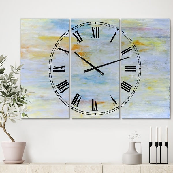 Designart 'Gently Down the Stream' Oversized Modern Wall Clock - 3 Panels - 36 in. wide x 28 in. high - 3 Panels