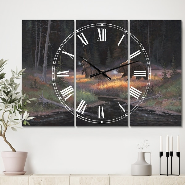 Designart 'Cub Scouts' Oversized Traditional Wall Clock - 3 Panels - 36 in. wide x 28 in. high - 3 Panels