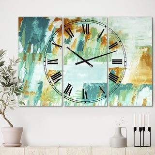 Designart 'On Your Right' Oversized Modern Wall Clock - 3 Panels - 36 in. wide x 28 in. high - 3 Panels
