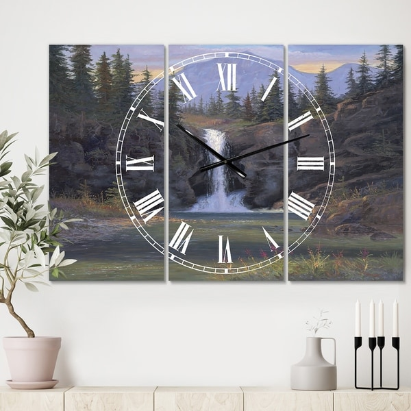 Designart 'Running Eagle Falls' Oversized Traditional Wall Clock - 3 Panels - 36 in. wide x 28 in. high - 3 Panels