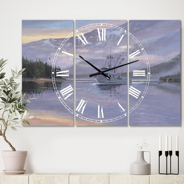 Designart 'The Last Frontier' Oversized Traditional Wall Clock - 3 Panels - 36 in. wide x 28 in. high - 3 Panels