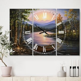 Designart 'Campfire Stories' Large Lake House Wall Clock - 3 Panels - 36 in. wide x 28 in. high - 3 Panels