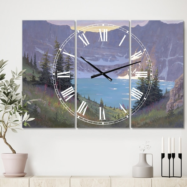 Designart 'Iceberg Lake' Large Traditional Wall Clock - 3 Panels - 36 in. wide x 28 in. high - 3 Panels