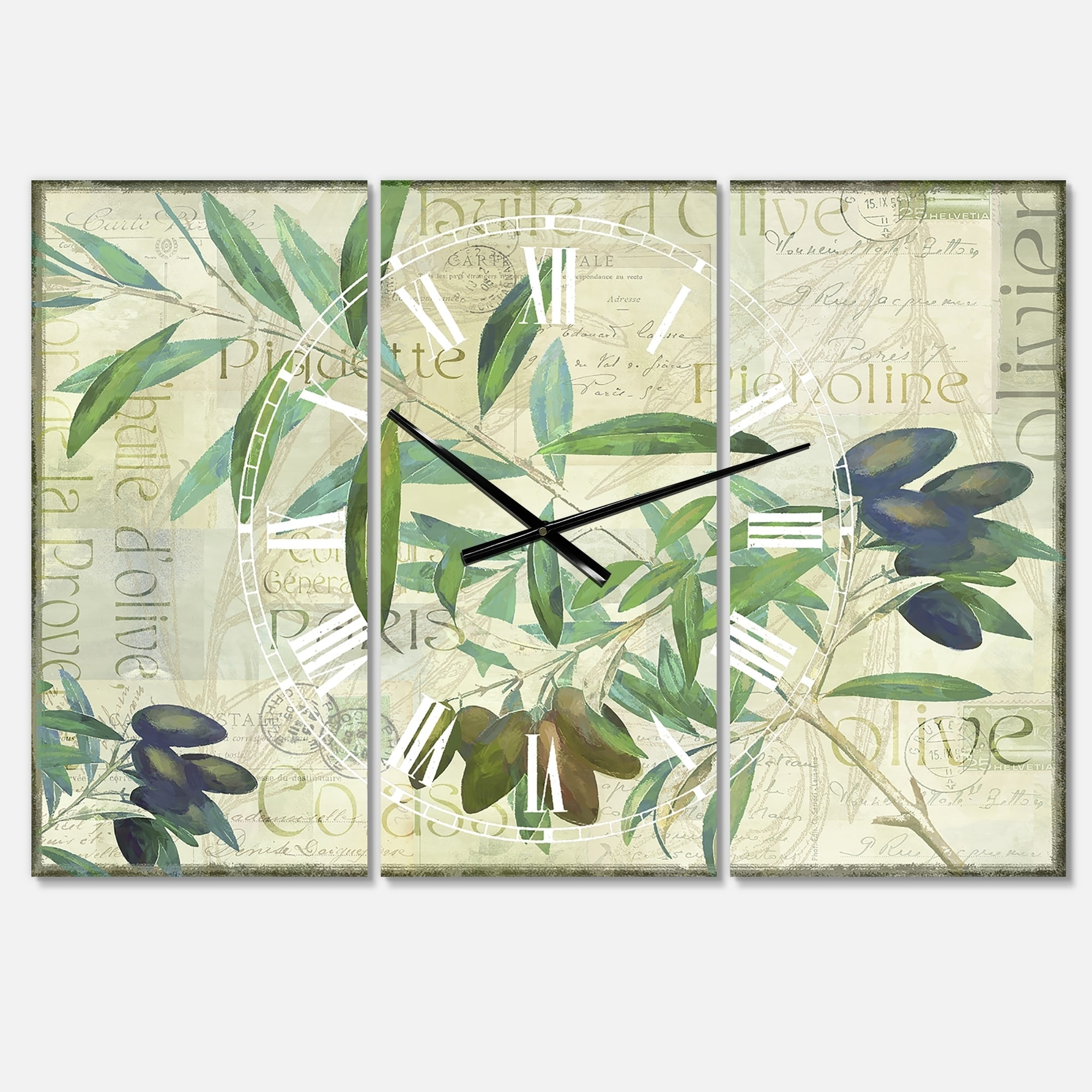 Designart Olives Picholines Oversized Cottage Wall Clock 3 Panels 36 In Wide X 28 In High 3 Panels Overstock 28335906