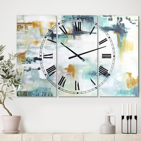 Designart 'Teal and White Composition ' Oversized Modern Wall Clock - 3 Panels - 36 in. wide x 28 in. high - 3 Panels