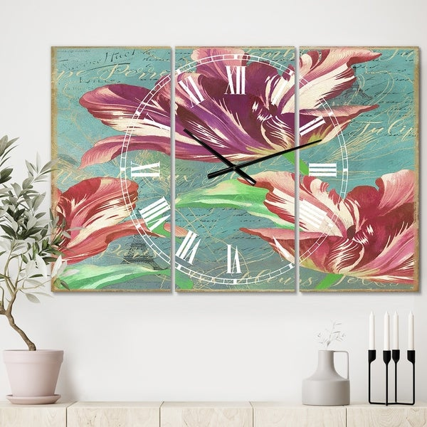 Designart 'Vintage Tulips in Paris' Oversized Cottage Wall Clock - 3 Panels - 36 in. wide x 28 in. high - 3 Panels