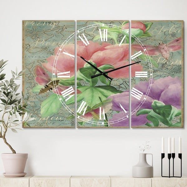Designart 'Pink Peonies' Large Cottage Wall Clock - 3 Panels - 36 in. wide x 28 in. high - 3 Panels