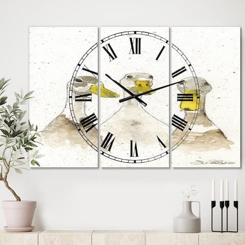 Designart 'Three White Ducks' Large Farmhouse Wall Clock - 3 Panels - 36 in. wide x 28 in. high - 3 Panels