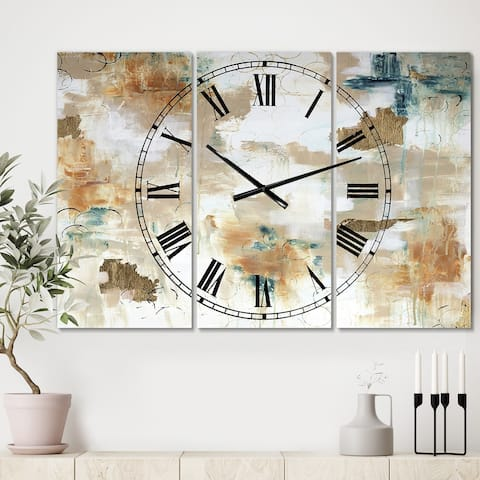 Porch & Den [Clock] Gilded Daydreams' Oversized 3-panel Wall Clock - 36 in. wide x 28 in. high - 3 Panels