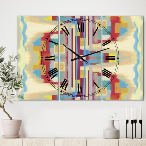 Designart 'Abstract II single' Large Mid-Century Wall Clock - 3 Panels - 36 in. wide x 28 in. high - 3 Panels