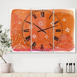 Designart 'Indian Orange Composition' Large Mid-Century Wall Clock - 3 Panels - 36 in. wide x 28 in. high - 3 Panels