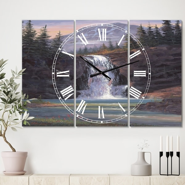 Designart 'Waterfall Mountain Afternoon' Large Traditional Wall Clock - 3 Panels - 36 in. wide x 28 in. high - 3 Panels