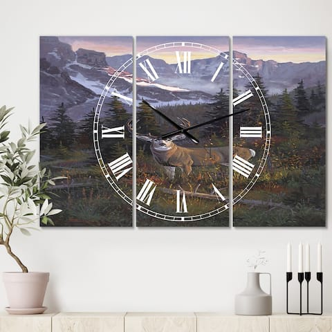 Designart 'High Country Muley' Large Traditional Wall Clock - 3 Panels - 36 in. wide x 28 in. high - 3 Panels