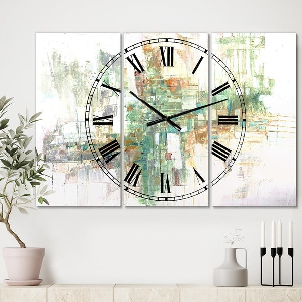 Designart 'Personality' Large Modern Wall Clock - 3 Panels - 36 in. wide x 28 in. high - 3 Panels